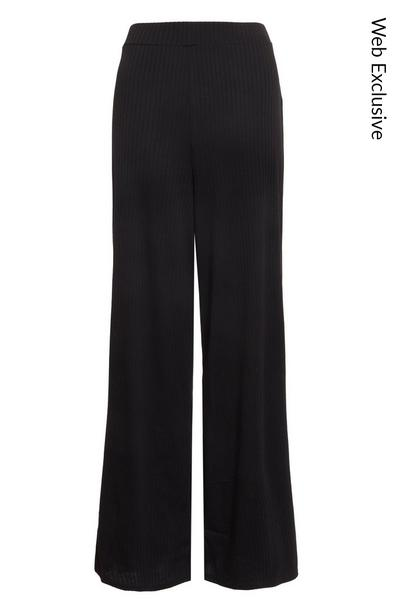 Black Ribbed High Waist Trousers